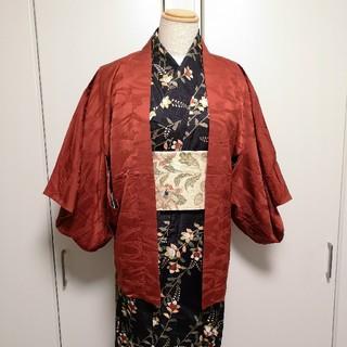 フリフ(ふりふ)の正絹 エンジ 羽織 着物 赤 アンティーク品(着物)