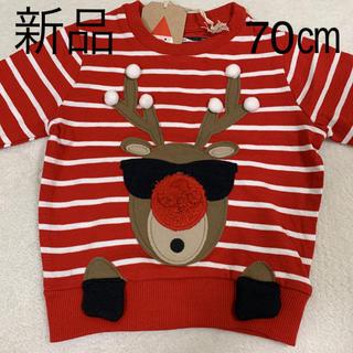 ネクスト(NEXT)の新品✳︎next3〜6m(70㎝)クリスマス トナカイ ロングTシャツ(シャツ/カットソー)