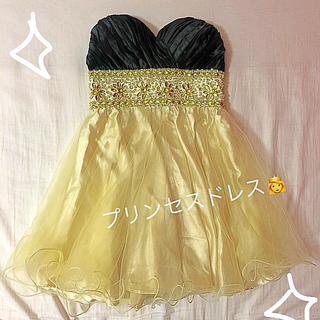 デイジーストア(dazzy store)のtika ティカ ドレス ミニ プリンセス 黄色 黒 ビジュー キラキラ イエロ(ミニドレス)