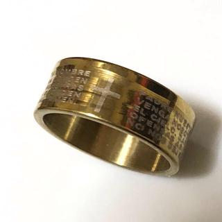 同時購入で300円 ステンレス指輪 十字架ゴールド(リング(指輪))