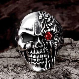レッドアイスカル 赤い目の骸骨 スカル リング 指輪 20号(リング(指輪))