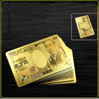 ゴールド トランプ 開運 黄金 金色 1万円  プラスチック製(トランプ/UNO)
