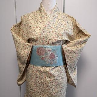 ミツコシ(三越)の黄色に枝 カラフルな花柄 洗える着物 L(着物)