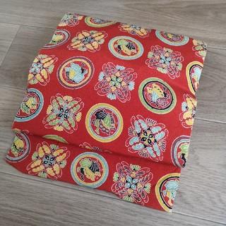 三越 - 蝶 赤 蝶丸 正絹 八寸 名古屋帯 カジュアル 琉球 着物 帯
