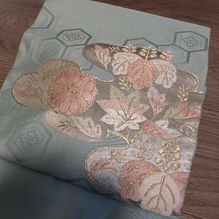ふりふ - 淡いブルーに桐の花 花刺繍 正絹 八寸 名古屋帯 カジュアル 着物 帯