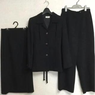 ジユウク(自由区)の巻きスカート スーツ おまけパンツ付き 3点セット 黒 大きいサイズ  送料込み(スーツ)