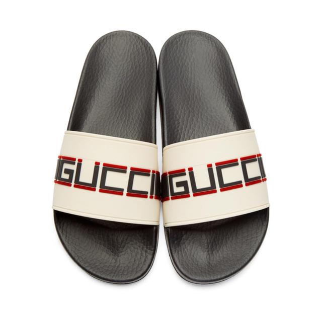 Gucci(グッチ)のGUCCI ホワイト ラバー ロゴ ストラップ サンダル レディースの靴/シューズ(サンダル)の商品写真