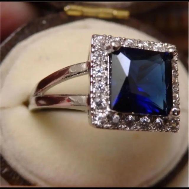 即購入OK ♡スクエアサファイアカラーシルバーリング指輪大きいサイズ レディースのアクセサリー(リング(指輪))の商品写真