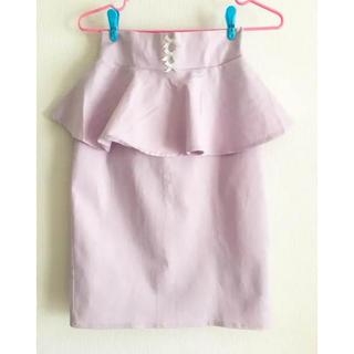 ハニーシナモン(Honey Cinnamon)のパープル ペプラムスカート(ひざ丈スカート)