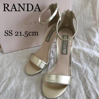 ランダ(RANDA)のRANDA アンクルストラップバックジップサンダル ゴールド SSランダ(ハイヒール/パンプス)