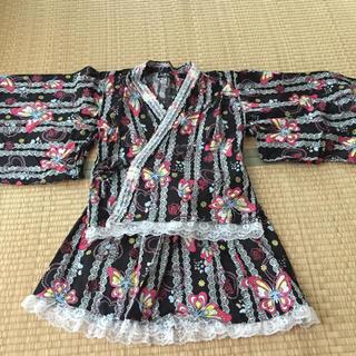 浴衣ドレス☆裾レース☆120cm☆黒☆甚平☆送料込み