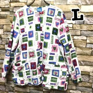 090 長袖  アメリカ古着 スクラブシャツ ドクターシャツ ホスピタルシャツ(カーディガン)