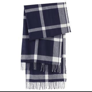 ムジルシリョウヒン(MUJI (無印良品))のあゆみ様専用ページです  カシミヤ織り柄ストール 70×180cm・ネイビー(ストール/パシュミナ)