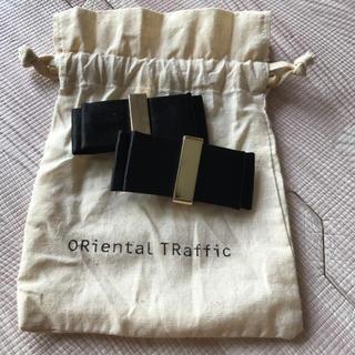 オリエンタルトラフィック(ORiental TRaffic)のオリエンタル トラフィック☆シューズクリップ☆リボン☆ブラック×ゴールド(ハイヒール/パンプス)