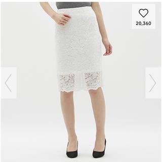 ジーユー(GU)の試着のみです GU レース スカート 白 XL(ひざ丈スカート)