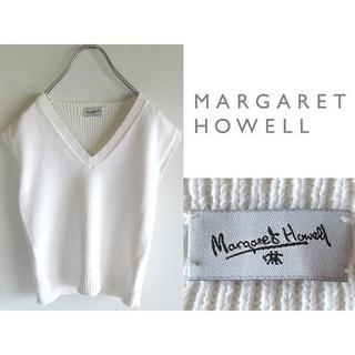 マーガレットハウエル(MARGARET HOWELL)のマーガレットハウエル スコットランド製 バックリブ コットンニットベスト(ベスト/ジレ)