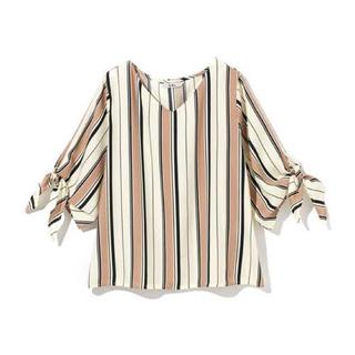 グレイル(GRL)のGRL マルチストライプ袖リボンシャツ(シャツ/ブラウス(長袖/七分))