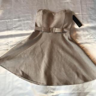 秋冬◆格安◆厚手上質◆新品◆ベア+ハイリボンAラインスゥエードミニドレス◆グレー(ミニドレス)