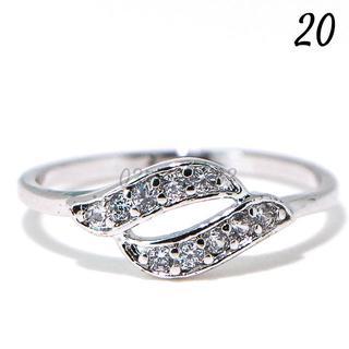 C18 リング 20号 CZ ダイヤモンド 個性的 2ライン 大きいサイズ(リング(指輪))