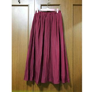 グローブ(grove)のグローブ★サテンロングギャザースカート★Lサイズ(ロングスカート)