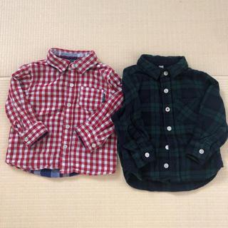 ムジルシリョウヒン(MUJI (無印良品))のチェックシャツ 80cm 2枚(シャツ/カットソー)