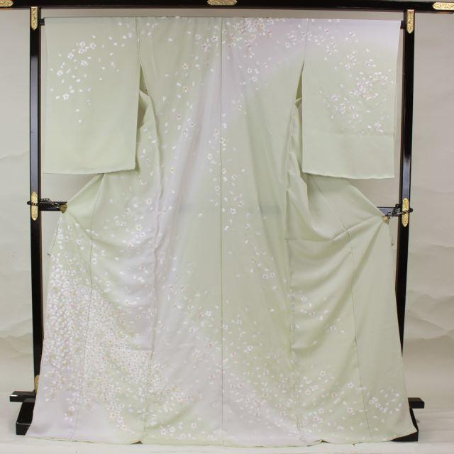 AC1042 誂仕立付極上訪問着 総手刺繍青磁色桜 レディースの水着/浴衣(着物)の商品写真