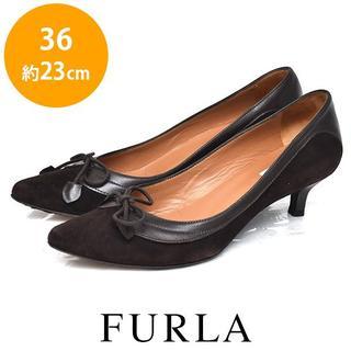 フルラ(Furla)のフルラ リボン スウェード パンプス 36(約23cm)(ハイヒール/パンプス)