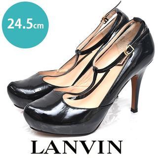 ランバンオンブルー(LANVIN en Bleu)のランバン Tストラップ エナメル パンプス 24 1/2cm(ハイヒール/パンプス)