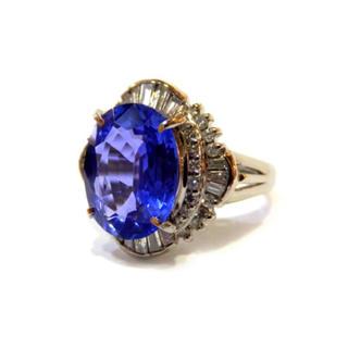 天然サファイア ロイヤルブルーのような透き通る蒼! ダイヤ リング Pt900(リング(指輪))
