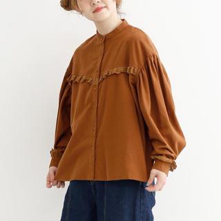 メルロー(merlot)のmerlot コットンネルボリュームパフスリーブブラウス ブラウン(シャツ/ブラウス(半袖/袖なし))
