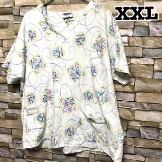 092 花柄  アメリカ古着 スクラブシャツ ドクターシャツ ホスピタルシャツ(シャツ/ブラウス(半袖/袖なし))
