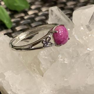 ルビー原石リング☆天然石☆フリーサイズ調節可能(リング(指輪))