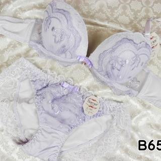 006★B65 M★ブラ ショーツ Wパッド 姫系レース&刺繍 紫(ブラ&ショーツセット)