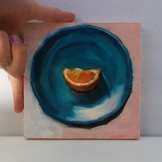 油絵原画 青い丸皿の上のオレンジ[額装](絵画/タペストリー)
