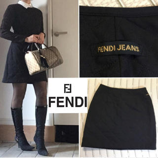 フェンディ(FENDI)のFENDI jeans ロゴ入りキルトミニスカート(ミニスカート)