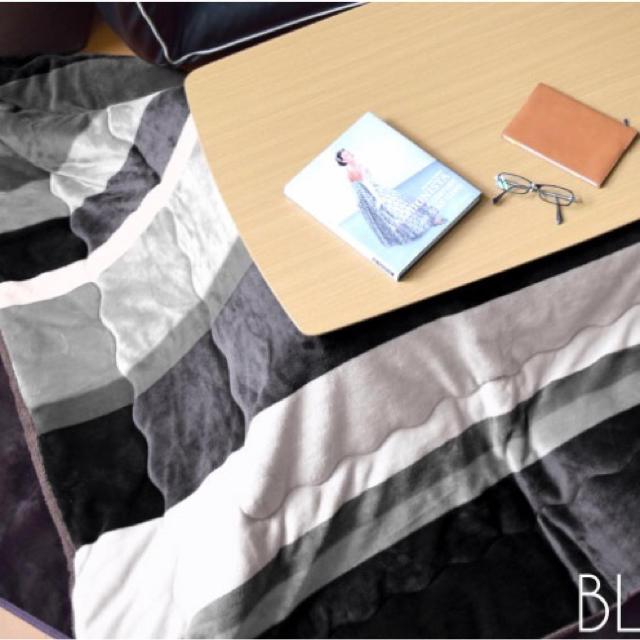 こたつ布団 こたつ モノトーン スタイリッシュ ストライプ ブラック インテリア/住まい/日用品の机/テーブル(こたつ)の商品写真
