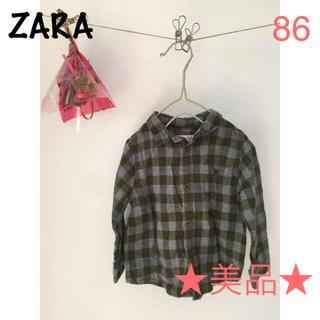 ザラキッズ(ZARA KIDS)の★美品★チェックシャツ  ZARA カーキ 86(シャツ/カットソー)