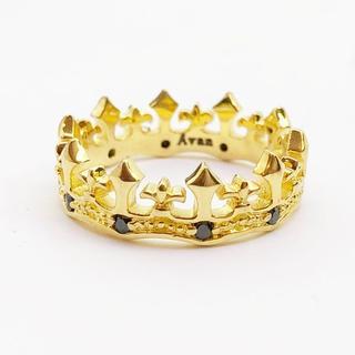 ブラックジルコニア入りクラウン(王冠)の指輪  ring110(リング(指輪))