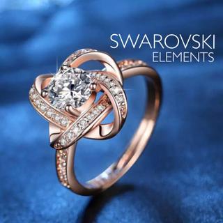 スワロフスキー キラキラリング ギフト用 ピンクゴールド(リング(指輪))