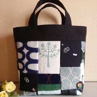 ミナペルホネン(mina perhonen)のM☆ミナペルホネン トートバッグHandmade刺繍生地パッチワーク【38】(バッグ)