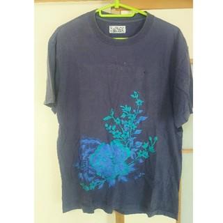 オクラ(OKURA)のオクラ OKURA 総刺繍柄Tシャツ サイズ3 ランチ BLUEBLUE(Tシャツ/カットソー(半袖/袖なし))