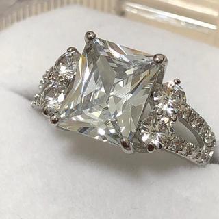新品!スクエアジルコニア シルバーリング レディース 指輪 ギフト(リング(指輪))