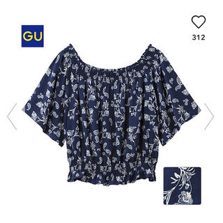 GU - GU オフショルダーブラウス ネイビー ペイズリー バンダナ柄 紺色 オフショル