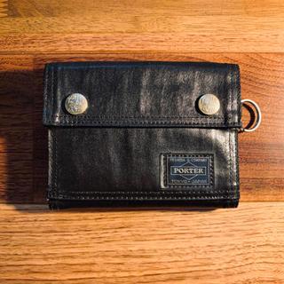ポーター(PORTER)の【美品】PORTER ポーター 2つ折り財布 ウォレット 黒(折り財布)