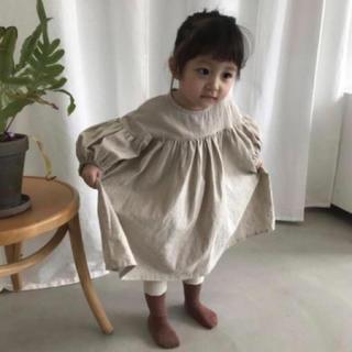 ふんわり リネンワンピース 100 韓国子ども服(ワンピース)