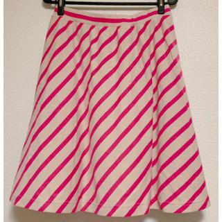 フェリシモ(FELISSIMO)のシロップ ななめストライプのやわらかスカート3L(ひざ丈スカート)