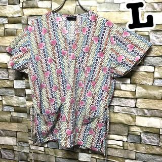 095 ハート柄 アメリカ古着 スクラブシャツ ドクターシャツ ホスピタルシャツ(シャツ/ブラウス(半袖/袖なし))