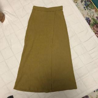 ジーユー(GU)のGU マスタードカラー ラップスカート(ひざ丈スカート)