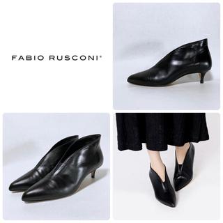 ファビオルスコーニ(FABIO RUSCONI)の■リフト新品 定3.5万 ファビオルスコーニ ショートブーツ 38 24 黒 靴(ブーティ)