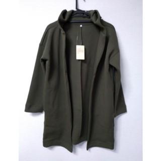 ムジルシリョウヒン(MUJI (無印良品))の新品 無印良品のフード付きコート(カーキグリーン)(ロングコート)